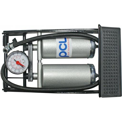 PCL Airline Footpump with Gauge - Double  barrel foot pump with psi / bar gauge