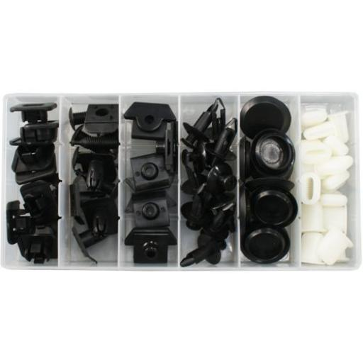 Assorted Trim Clips - Nissan (57pc) - Plastic Fastener Retainer Fixing Bodyshop Car Van Auto Crash Repair