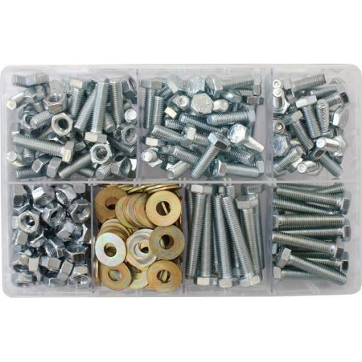 Assorted Box of M8 Hardware - Setscrews, Nuts and Flat Washers(310) Fasteners Bolts Metric 8mm Mixed Kit