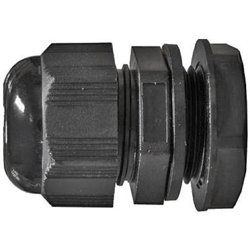 Cable Glands 20mm (Cable diam 6-12mm) (25) - Nylon Waterproof IP68 Black Compression TRS Stuffing Locknut