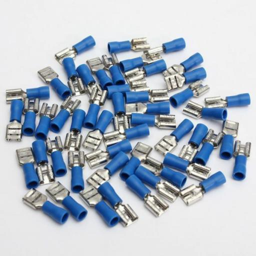 Blue Female Spade 6.3mm (crimps terminals)  -  Blue Car Auto Van Wiring Crimp Electrical Crimping Spades Connectors - Auto Electric Cable Wire