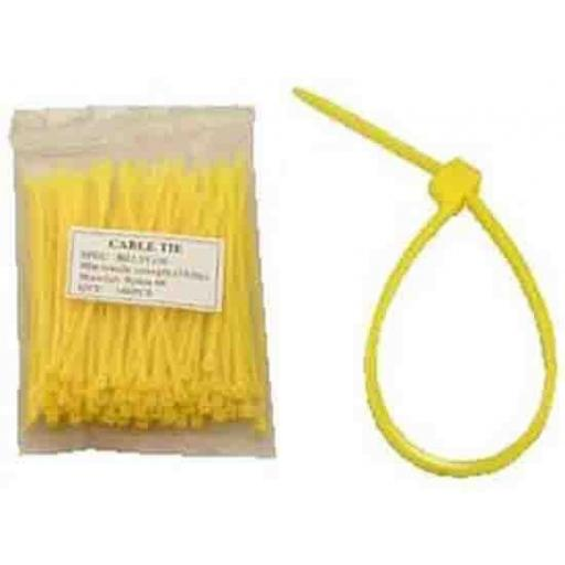 Cable Ties 300mm x 4.8mm YELLOW  - Nylon Plastic Zip Wire Tie Wraps fastening electrical wiring