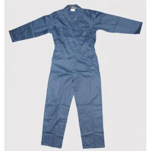 Poly / Cotton Overalls Blue (Large) Poly Cotton Coverall Workwear Welder Mechanic Overall Boiler Suit Plus