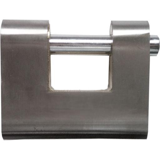 Armoured Shutter Block Padlock 81mm - 3 keys High Security Armoured Steel Closed Shackled Shutter Padlock, 81mm