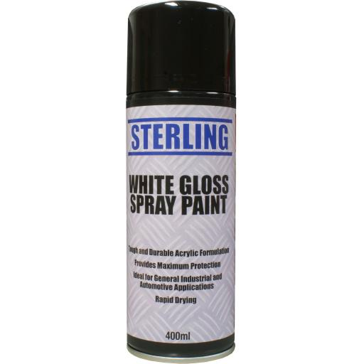 Sterling White Gloss Paint- Aerosol/Spray (400ml) - Household Car Plastic