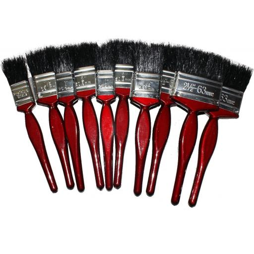 Pack of Assorted Quality Paint Brushes (10) - Paint Brush Brushes Decorating DIY Painting