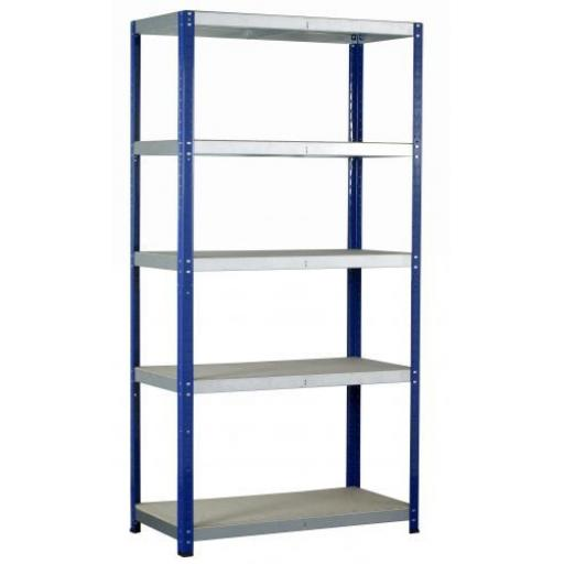 Shelving Bay (5 shelves) - Garage Workshop Racking Unit Storage Rack Heavy Duty Steel 265kg Shelf Bay