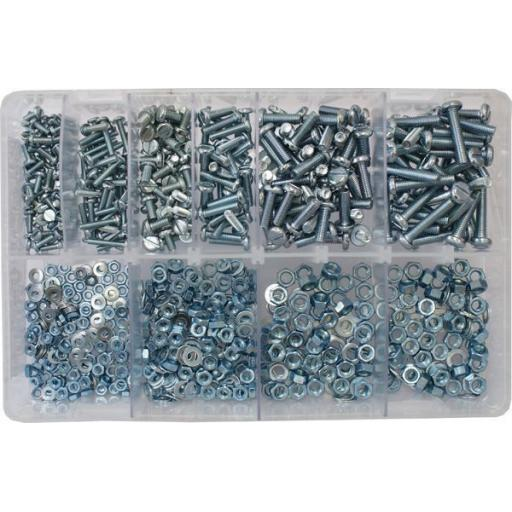 Assorted Machine Screws and Nuts BZP (840 pc)  For Light Switch,Plug Socket,Front Plates, Trailer Sockets