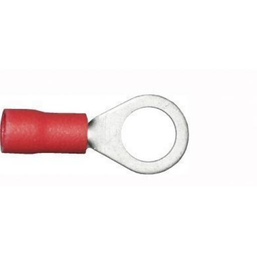 Red Ring 6.4mm (0BA)(crimps terminals)  - Red Car Auto Van Wiring Crimp Electrical Crimping Ring Connectors - Auto Electric Cable Wire