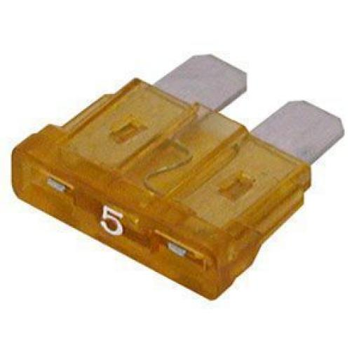 Blade Fuses 5 Amp (Light Brown) - Light Brown Tan Standard Blade Wedge Spade Fuse - Car Van Truck Lorry Auto Tractor Marine Boat Wire Cable Wiring Electric