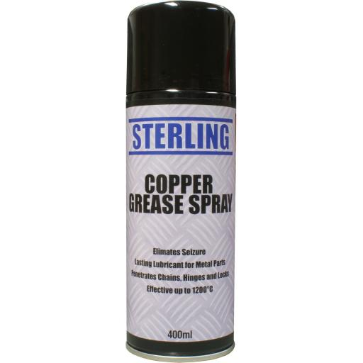 Sterling Copper Grease Aerosol/Spray (400ml) - Anti Seize Brake Squeal Spray Can Maintenance for for Car and Motorcycle