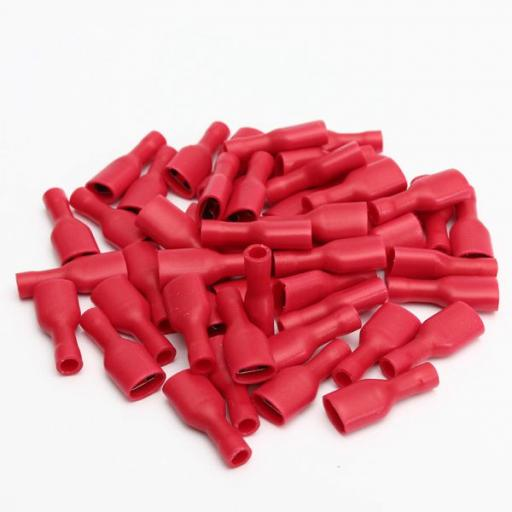 Red Female Spade 6.3mm Fully Insulated(crimps terminals)  - Red Car Auto Van Wiring Crimp Electrical Crimping Spades Connectors - Auto Electric Cable Wire