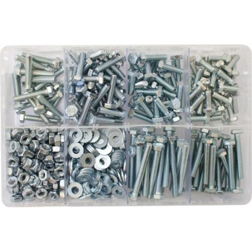 Assorted Box of M6 Hardware - Setscrews, Nuts and Flat Washers(480) used with Nuts and Flat Washers 8.8 High Tensile Fasteners Bolts Set Screws Metric