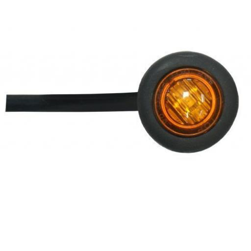 LED Utility Button Lamp (Amber)- Car Truck Lorry Trailer Round Led Button Rear Side 12V Truck Marker Light Lamps