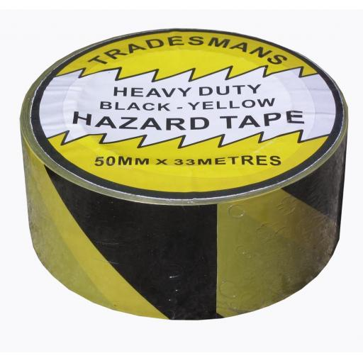 Adhesive Hazard Tape - Yellow/Black  - Self Adhesive Roll Marking Barrier Safety Danger Caution Warehouse Store Security