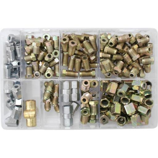 Assorted Box of Brake Pipe Nuts ( joiners + connectors) Car Van Auto Copper Braking Fittings