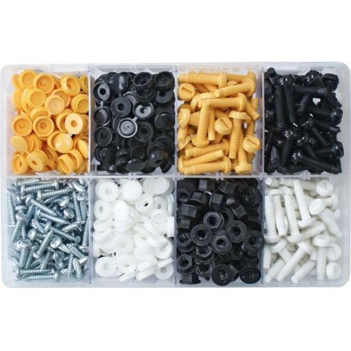 Assorted Box of  Number Plate Fasteners (300) - No. Plate Trimming Bodyshop Car Auto Van Truck Retainer Clips Push Pin Rivets Set Door Trim Panel Clip & Fasteners