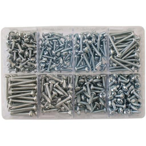 Assorted Large Self Tapping Screws (500) Self Tapping Screws (10 and 12 Gauge) BZP Tappers