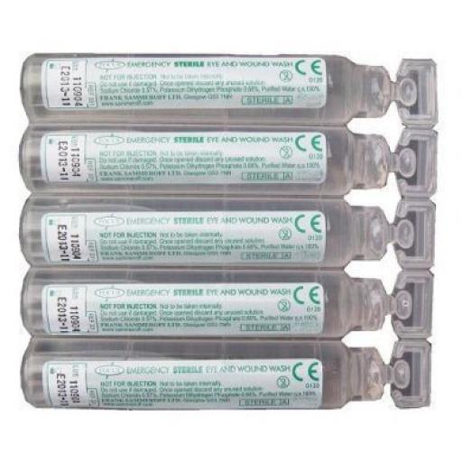 Box of Eye wash 25 refills (20ml) Sterile Saline Eyewash Injury Eye Wound Wash Pods First Aid Box