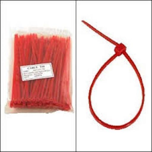 Cable Ties 100mm x 2.5mm RED - Nylon Plastic Zip Wire Tie Wraps fastening electrical wiring