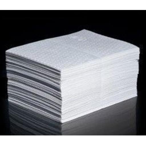 Absorbent Pads Pack of 50 (white) Oil & Fuel, Maintenance & Chemical Spill Absorbent Pads - Workshop Garage Safety