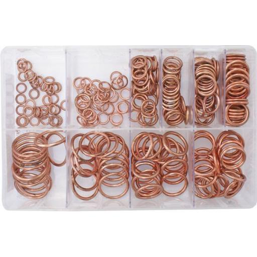 Assorted Box of  Copper Compression Washers (250) - Car Engine Sealing Crushed Washers Oil Seal Sump Metric Plumbing