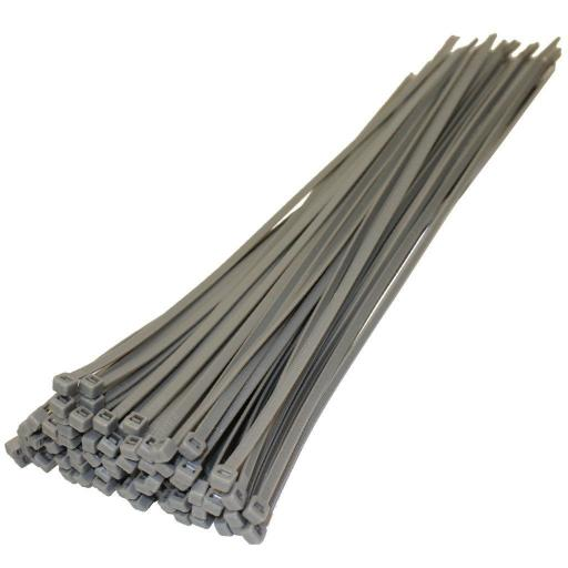 Cable Ties 370mm x 4.8mm Silver  - Nylon Plastic Zip Wire Tie Wraps fastening electrical wiring