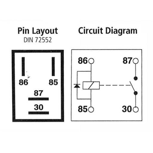 Micro Relay 4-pin 12v 20A, with Diode - Car Automotive Auto micro relay make and break car van bike boat