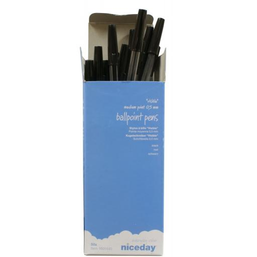 Box of Ballpoint Pens - Black (50) - Ball Pens Ball Point Pen MEDIUM Biros BLACK