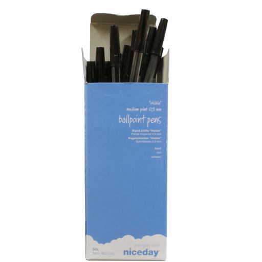 Box of Ballpoint Pens - Black (50) - Ball Pens Ball Point Pen MEDIUM Biros BLACK