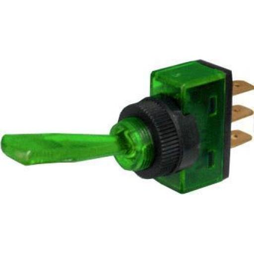 Toggle Switch 20A - Green- Car Auto Dashboard Dash Boat Van 12V Electric wiring Cable wire