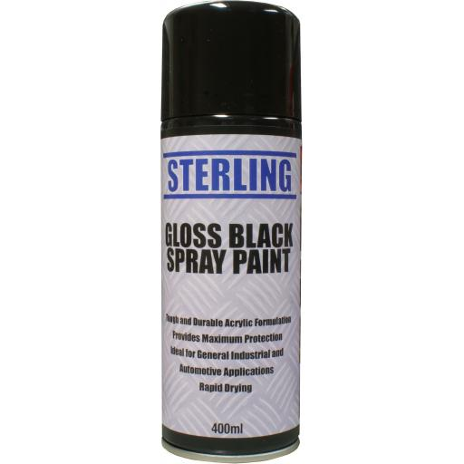 Sterling Paint - Gloss Black Aerosol/Spray (400ml) - Car Van Auto Truck Lorry Motorbike Boat Bodyshop Paint