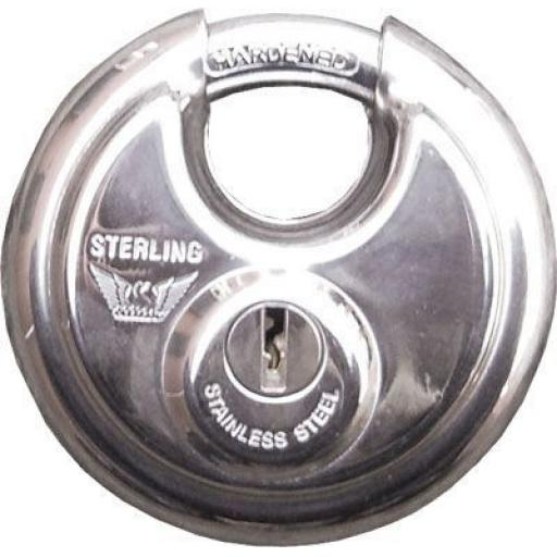 Disc Padlock 70mm - 2 keys Round Lock Padlock Fits Doors, Gates & Van Vault Security Box