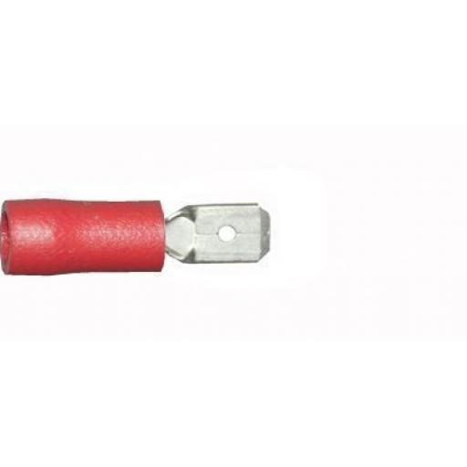 Red Tab (male) 6.3mm(crimps terminals)  - Red Car Auto Van Wiring Crimp Electrical Crimping Spades Connectors - Auto Electric Cable Wire