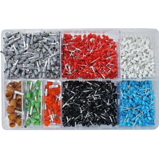 Assorted Box of  Cord Ends FRENCH (2600) - Cord End Bootlace Ferrules Terminals Insulated French Single Entry Cable