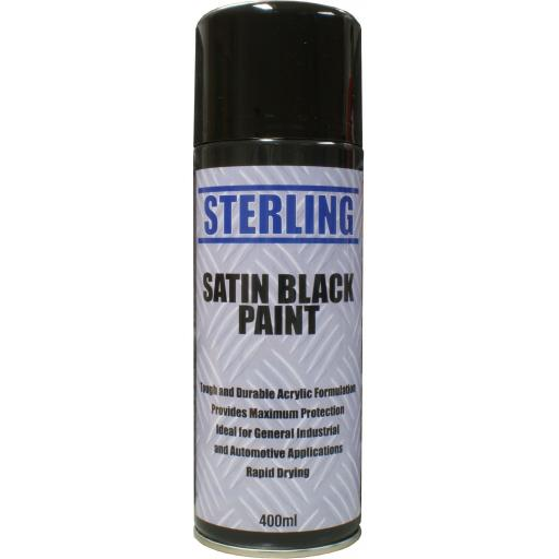 Sterling Satin Black Spray Paint Aerosol/Spray (400ml)- - Car Van Auto Truck Lorry Motorbike Boat Bodyshop Paint