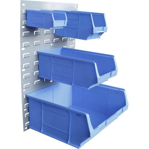 Storage Bin, Steel Louvred Backing wall mount Plate Panel Board Storage Bins + Linbins