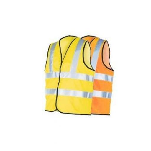 High-Visual Orange Waistcoat LARGE - Hi Viz High Viz Visibility Waistcoat Jacket Vest Safety Top Work  Reflective Workwear
