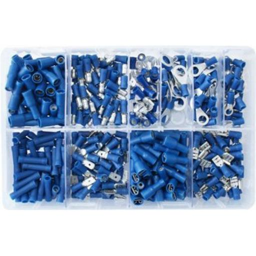 Assorted Box of  Blue Electrical Terminals (400) - Assorted Insulated Female Spade Terminals Crimp Connector Electrical Terminal Wiring Wire cable Car Auto Van
