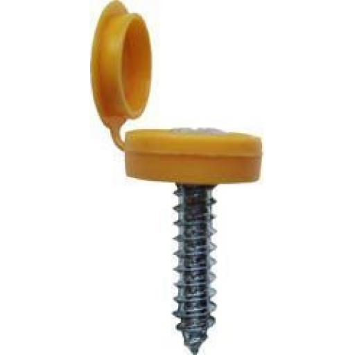 Number Plate Screws and Caps YELLOW Hinged- Car Auto Vehicle Reg Registration No. Plate Fixing Fitting Kit Screws And Caps