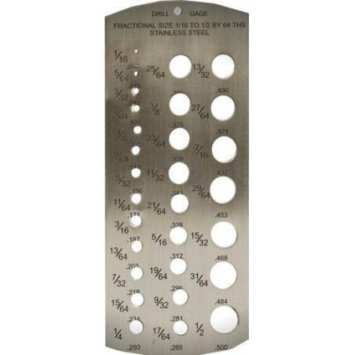"""Drill Bit Gauge IMPERIAL (1/16 - 1/2"""") Imperial Machine Tap Twist Wire Bolt Measuring Size Guide"""