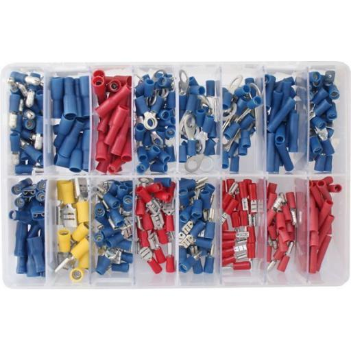 Assorted Box of  Electrical Terminals (365) - Assorted Insulated Female Spade Terminals Crimp Connector Electrical Terminal Wiring Wire cable Car Auto Van