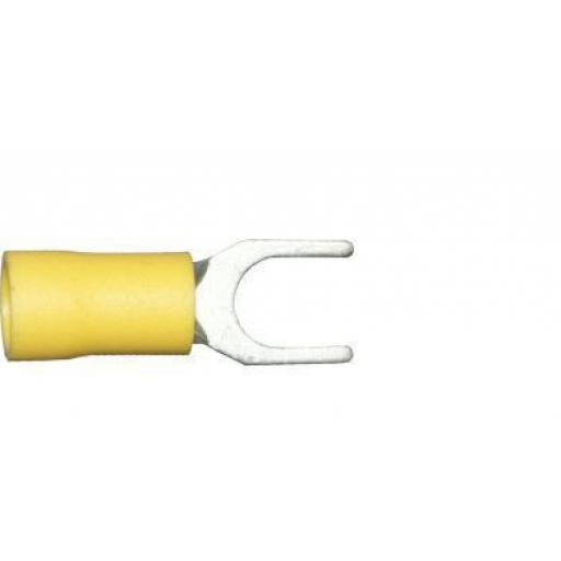 Yellow Fork 6.4mm (0BA) (crimps terminals) - Yellow Car Auto Van Wiring Crimp Electrical Crimping Fork Joiner Connectors - Auto Electric Cable Wire