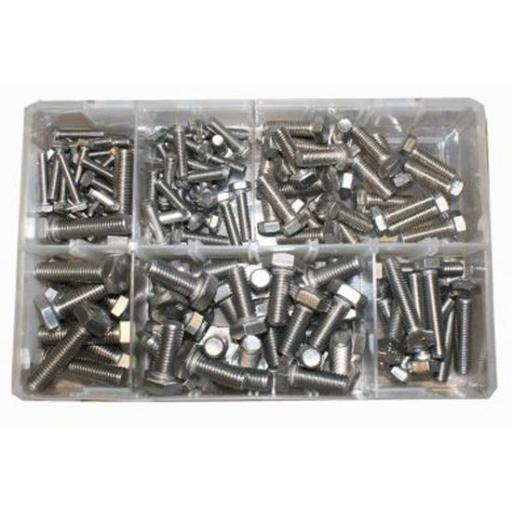 Assorted Stainless Steel Metric Setscrews (120) used with Nuts and Flat Washers 8.8 High Tensile Fasteners Bolts Set Screws Metric