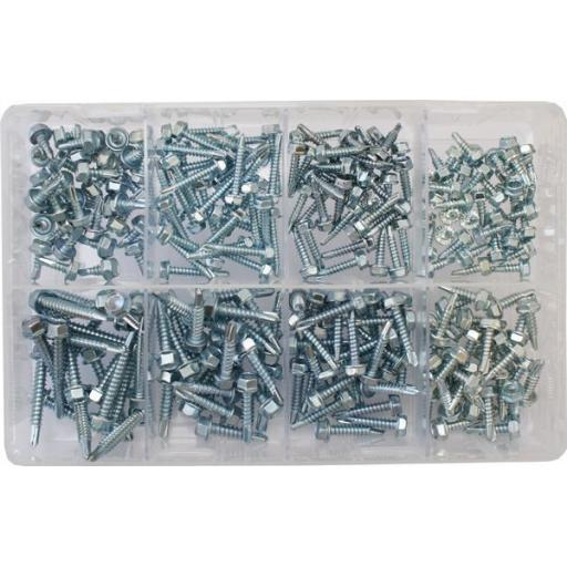 Assorted Self drilling Hex-head self tapping screws (240)  used with Nuts and Flat Washers 8.8 High Tensile Fasteners Bolts Set Screws Metric
