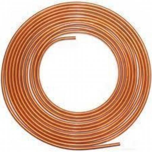 "Soft Copper Brake Pipe 6mm x 10m - Line Roll Tube Piping Joint Union 3/16"" Hosing Car Van Auto Garage"