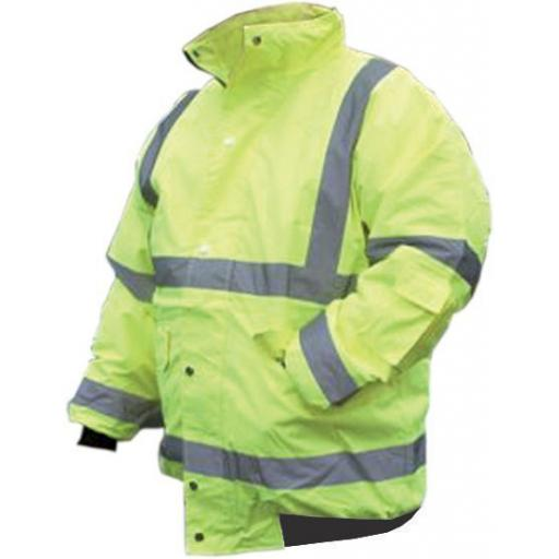 High-Visual Bomber Jacket - LARGE Hi Viz High Viz Visibility Waterproof Bomber Jacket Coat Safety Work Wear