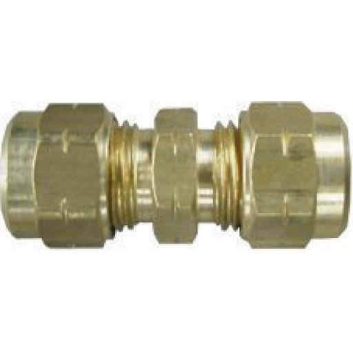 Brass Straight Tube Coupling 3/8 (5) plus Olives - Compression Fitting Coupler Coupling Connector Copper Fitting