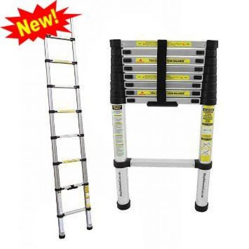 2.6m Telescopic Ladder - Multi-Purpose Aluminium Telescopic Ladder Extension Extendable Collapsable Foldaway Compact